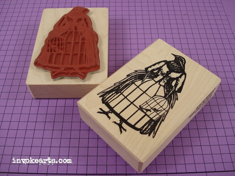 Bird Cage Bird Stamp / Invoke Arts Collage Rubber Stamps image 0