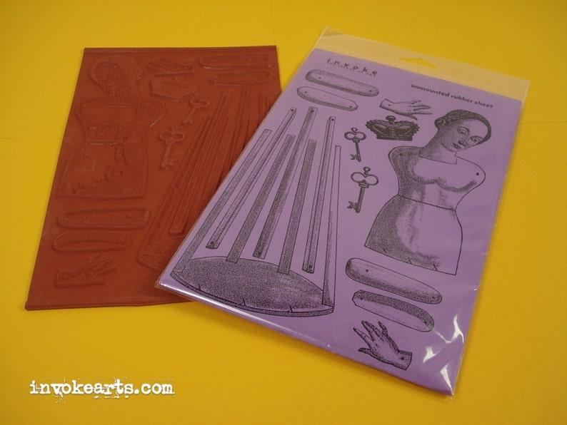 Santos Paper Doll / Invoke Arts Collage Rubber Stamps / image 0