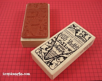 Heart Ticket Stamp / Invoke Arts Collage Rubber Stamps