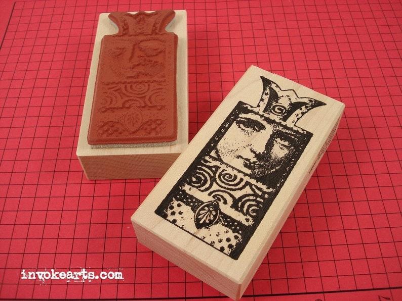 Retablo Face Stamp / Invoke Arts Collage Rubber Stamps image 0
