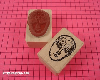 Mini Meri Face Stamp / Invoke Arts Collage Rubber Stamps