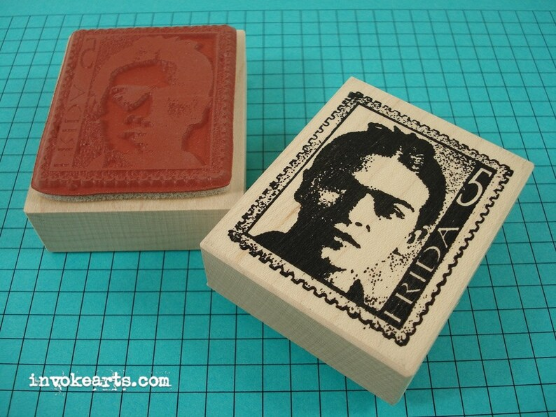 Frida Post 5 Stamp / Invoke Arts Collage Rubber Stamps image 0