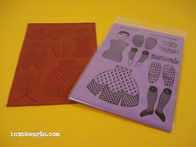 Lg Pierrot Paper Doll Invoke Arts Collage Rubber Stamps / image 0