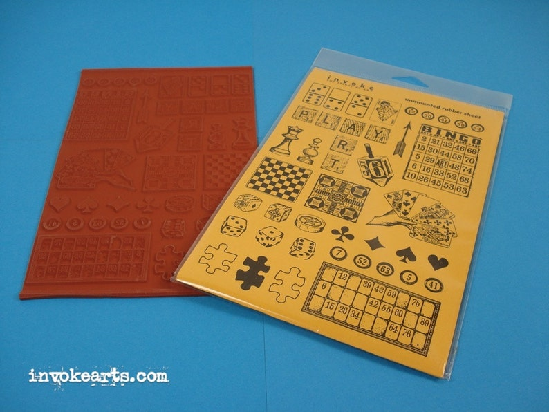 Game Pieces / Invoke Arts Collage Rubber Stamps / Unmounted image 0