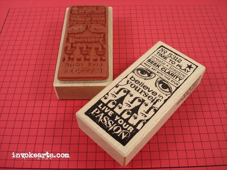 Passion Ticket Stamp / Invoke Arts Collage Rubber Stamps image 0
