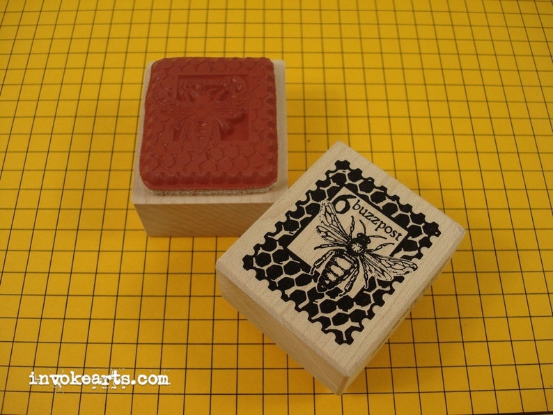 Buzzpost Stamp / Postoid / Invoke Arts Collage Rubber Stamps image 0