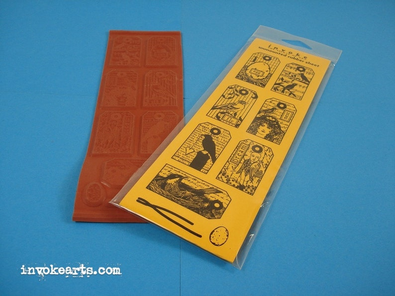 Bird Tags / Invoke Arts Collage Rubber Stamps / Unmounted image 0