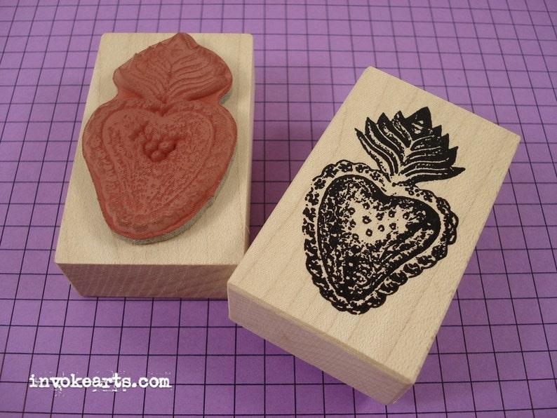 Heart Milagro 3 Stamp / Invoke Arts Collage Rubber Stamps image 1