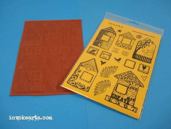 Nature Tags  Invoke Arts Collage Rubber Stamps  Unmounted Stamp Set