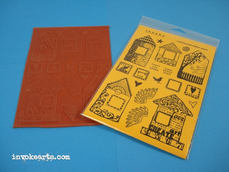 Funky Houses Invoke Arts Collage Rubber Stamps / Unmounted image 0