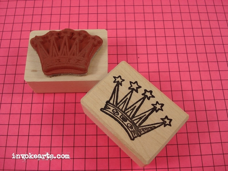 Star Crown Stamp / Invoke Arts Collage Rubber Stamps image 0