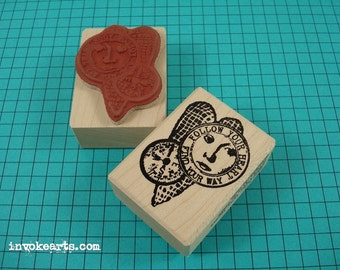 Find Your Way Heart Stamp / Invoke Arts Collage Rubber Stamps