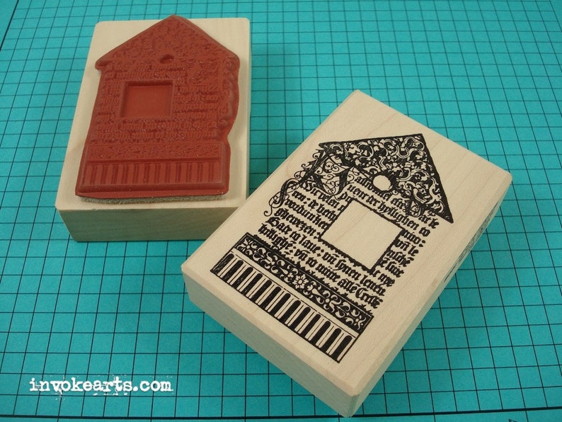 Script House Stamp / Invoke Arts Collage Rubber Stamps image 0