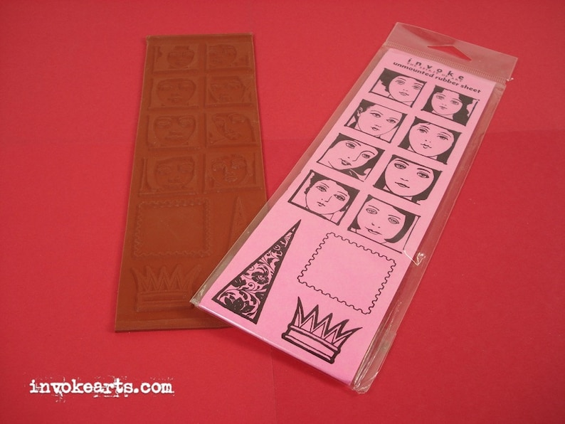 Sale / Face Squares / Invoke Arts Collage Rubber Stamps / image 0