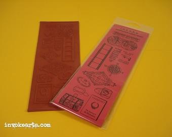 Travel Elements / Invoke Arts Collage Rubber Stamps / Unmounted Stamp Set