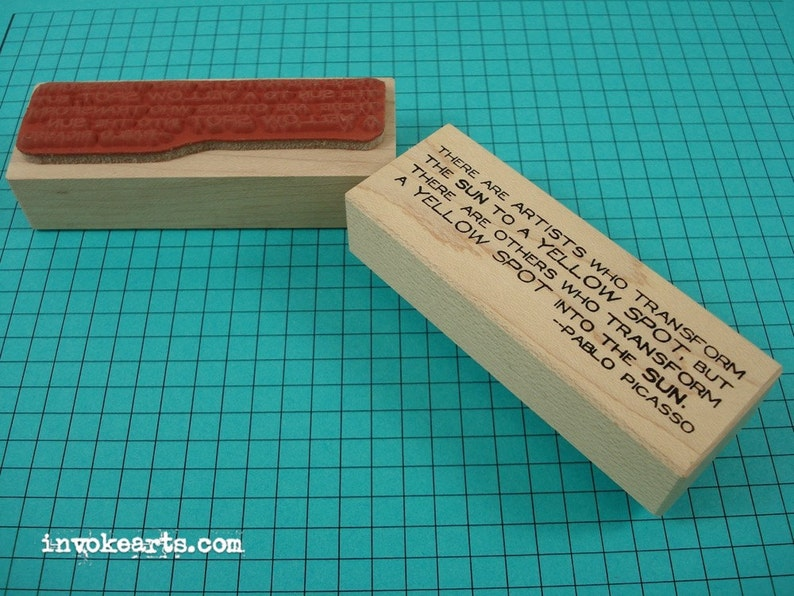 Picasso Quote Stamp / Invoke Arts Collage Rubber Stamps image 0