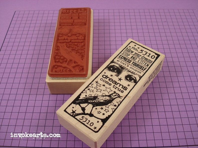 Dreams Ticket Stamp / Invoke Arts Collage Rubber Stamps image 0
