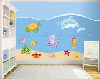 Ocean animals wall decal under the sea sticker set for kids for Decorazioni muro ikea