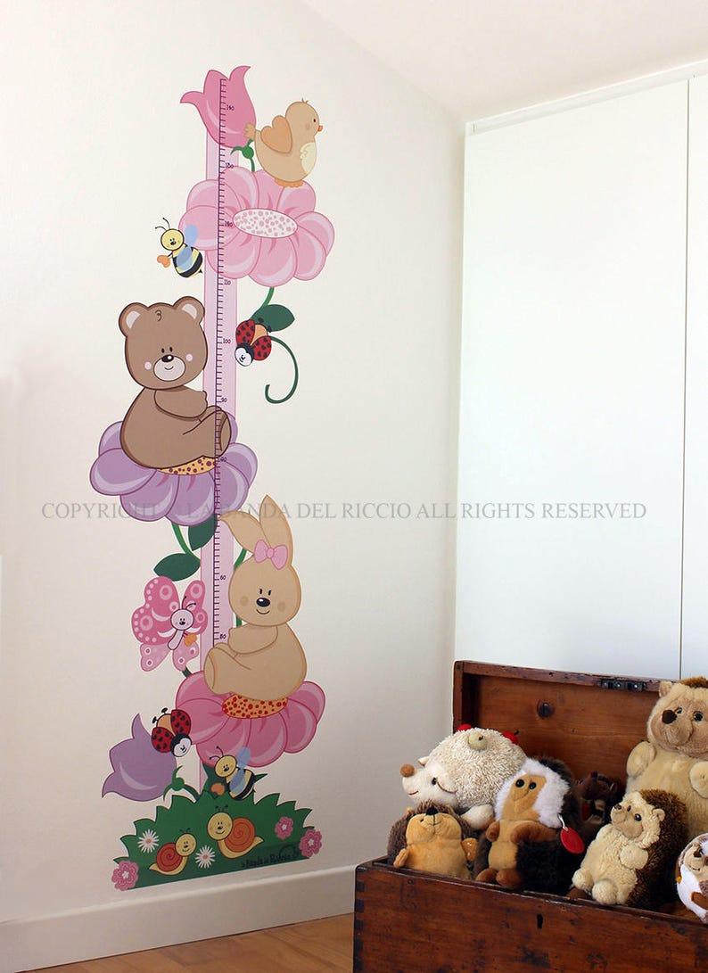 Pared Bimbine Dormitorio Flor Metro Niños Chicas Crecimiento Pegatinas WD2IYE9H