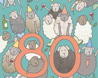 80th Birthday Card Sheep Fun Picture Felltarn Friends