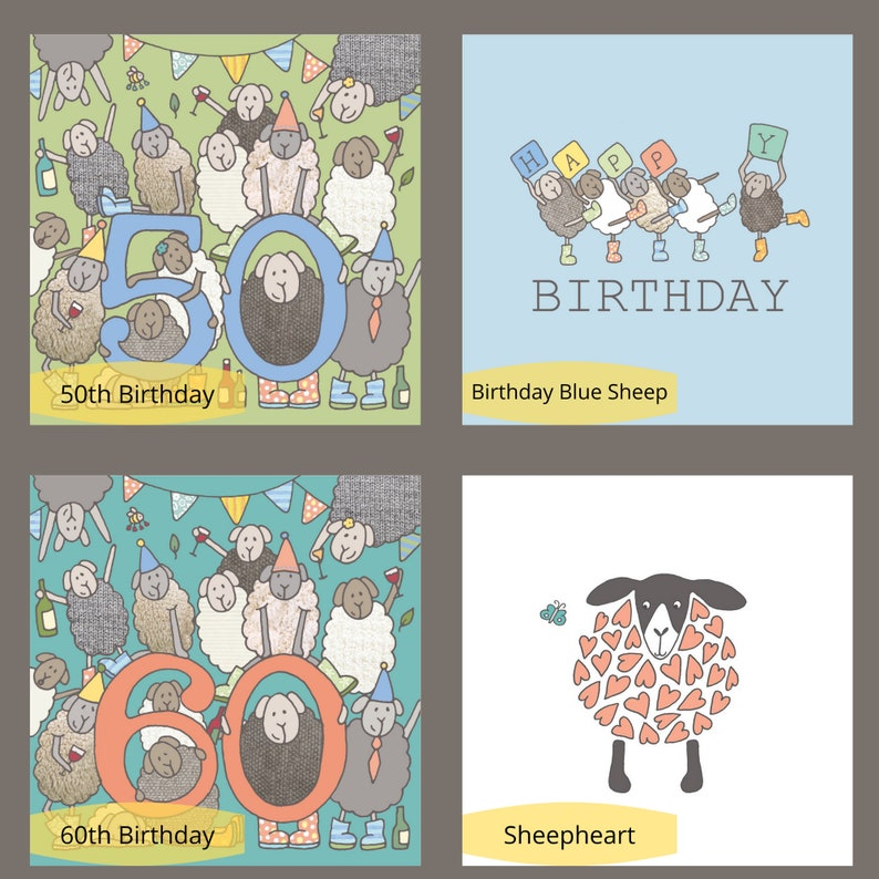 Farm Greetings Cards Herdwicks Sheep Cumbria Sheep Cards Any 5 Cards Blank Animal Cards Chickens Choose from Over 20 Felltarn Designs