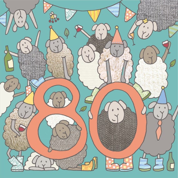 80th Birthday Card Sheep