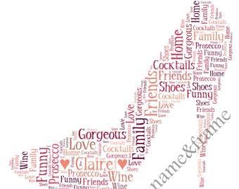 Personalised Stiletto Shoe Word Art Print