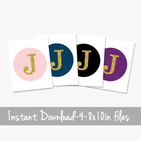 Círculo de oro para imprimir J monograma letra J color de | Etsy
