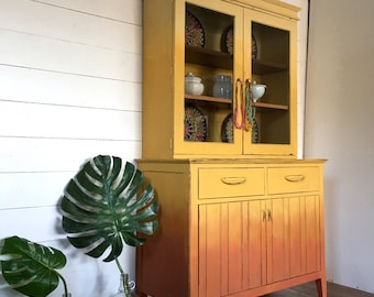 Ombre Painted Hutch, Yellow China Cabinet