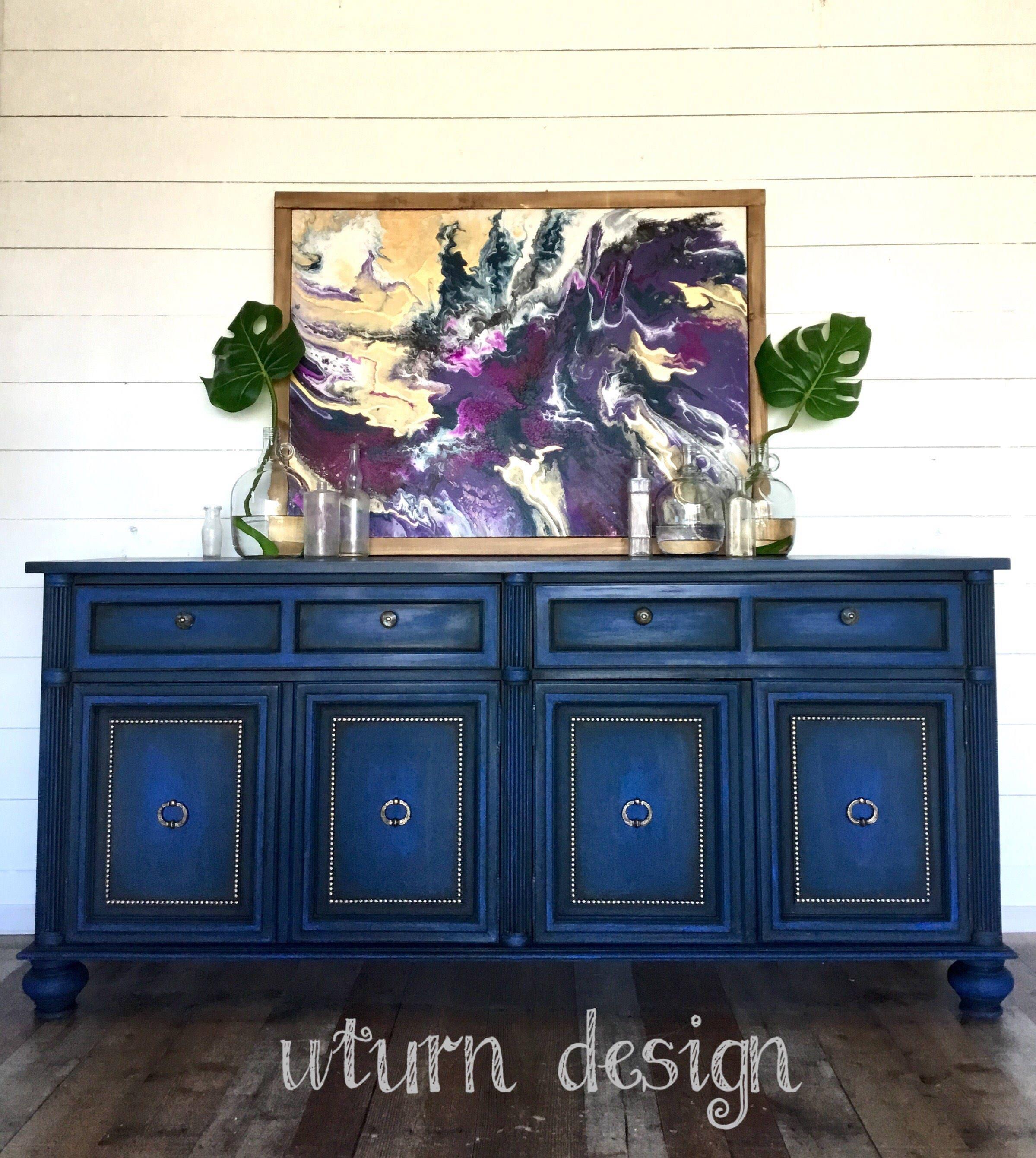 Bon Sold!!! Sold!! XL Colbalt Blue Painted Tv Console, Dark Blue Buffet Cabinet.