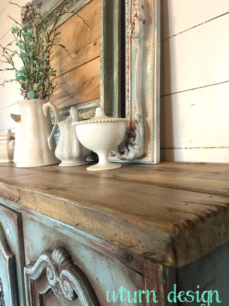 Old world painted buffet Sold!! Sold!! rustic sideboard blue farmhouse hutch
