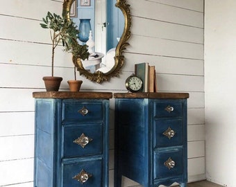Sold!!!! Sold!! Dark blue painted nightstands, navy side tables, blue small bathroom cabinet