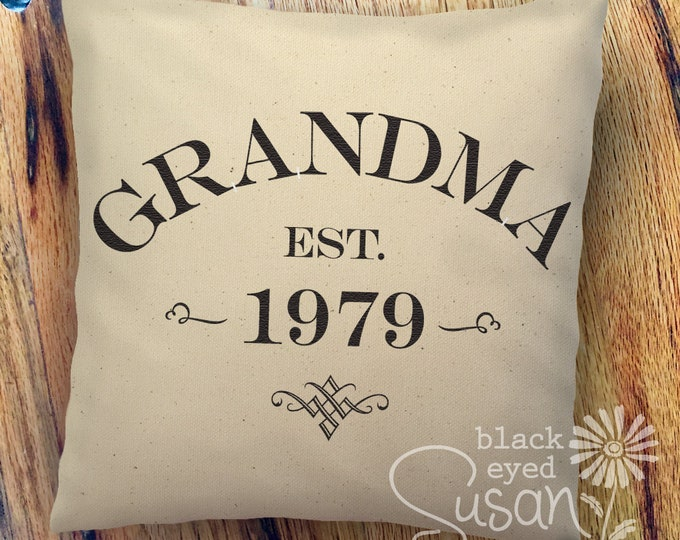 "Custom Grandma, Grandpa, Etc. Pillow Cover of Natural Canvas or Lined Burlap | 14""x14"" 18""x18"" 22""x22"" 