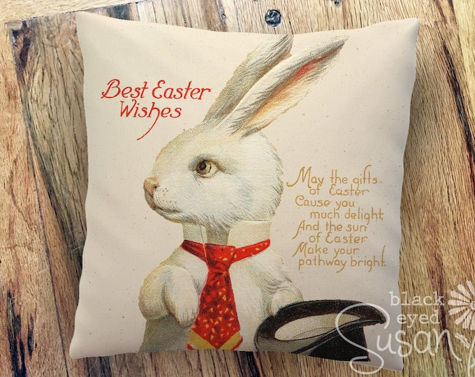 "White Rabbit Easter Pillow Cover  | 14""x14"" 18""x18"" 22""x22"" 