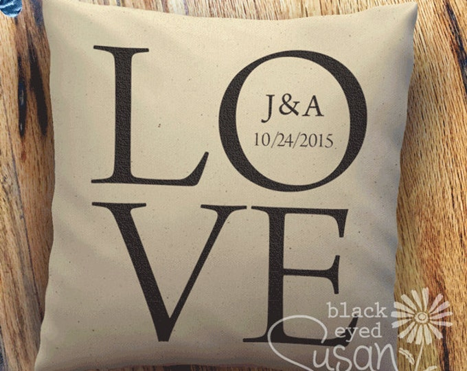 "Custom Love Pillow Cover of Natural Canvas or Lined Burlap | 14""x14"" 18""x18"" 22""x22"" 