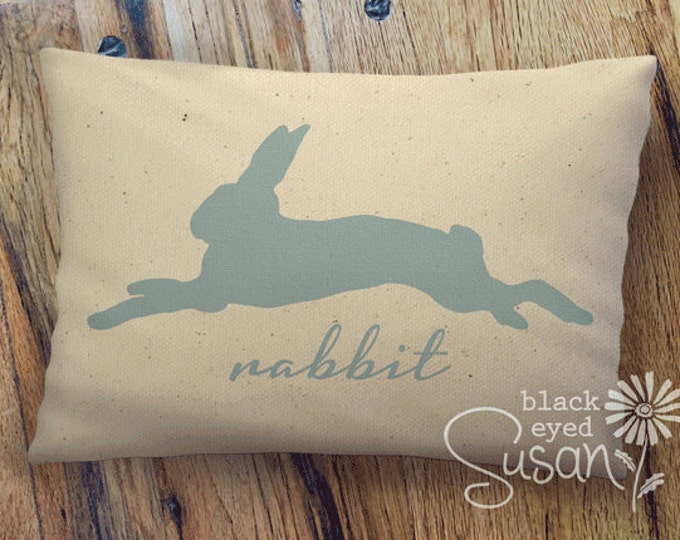 "Rabbit Print Pillow Cover of Natural Canvas or Lined Burlap | 12""x18"" or 16""x24"" 