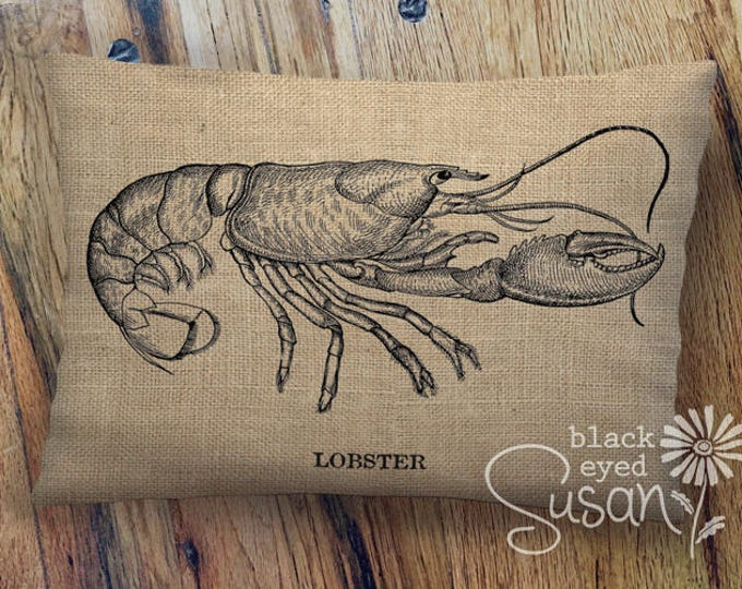 "Vintage Lobster Pillow Cover | 100% Cotton Canvas or Natural Burlap | 12"" x 18"", 16"" x 24"" 
