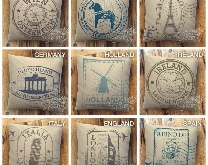 "Travel Stamp Pillow Cover | Natural Canvas or Lined Burlap | 14""x14"" 18""x18"" 22""x22"" 