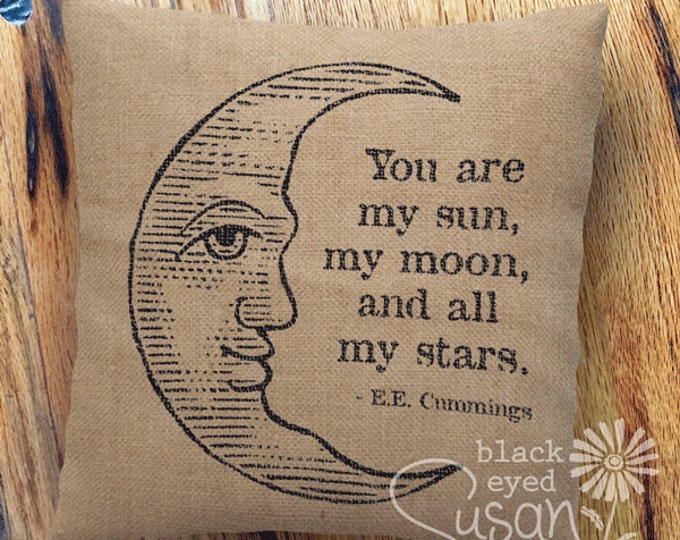 "Crescent Moon Pillow Cover | 16 Ink Colors w/ Natural Canvas or Lined Burlap | 14""x14"" 18""x18"" 22""x22"" 
