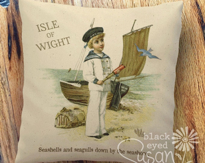 "Boy on Isle of Wight, England | 100% Cotton Canvas or Burlap | 14""x14"" 18""x18"" 22""x22"" 
