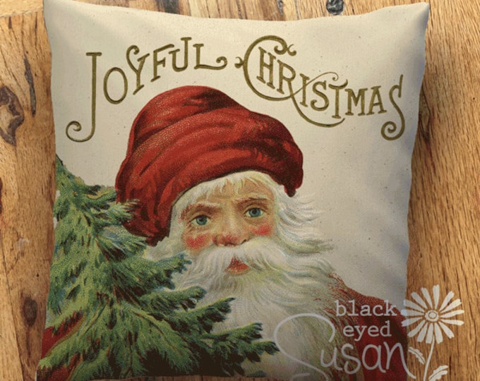 "Joyful Christmas Santa Christmas Pillow Cover  | 14""x14"" 18""x18"" 22""x22"" 