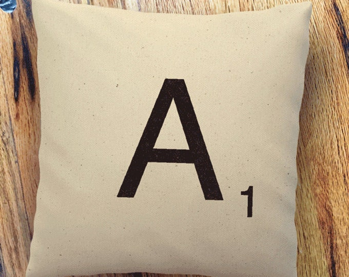 "Scrabble Piece Pillow Cover | Natural 100% Cotton Canvas or Lined Burlap | 14""x14"" 18""x18"" 22""x22"" 