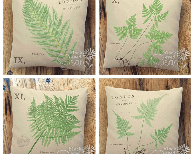 "Fern Botanical Pillow Cover | Cotton Canvas or Burlap | 14""x14"" 18""x18"" 22""x22"" 