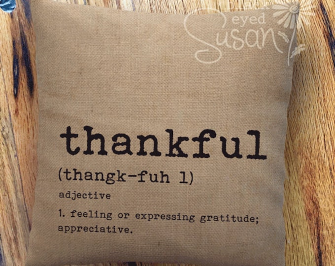 "Thankful Pillow Cover | 100% Cotton Canvas or Lined Burlap | 14""x14"" 18""x18"" 22""x22"""