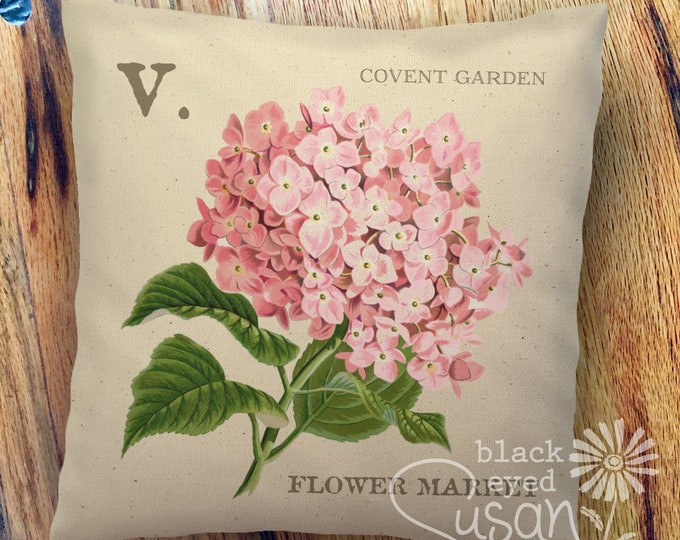 "Pink Hydrangea Pillow Cover | 100% Cotton Canvas or Burlap | 14""x14"" 18""x18"" 22""x22"" 