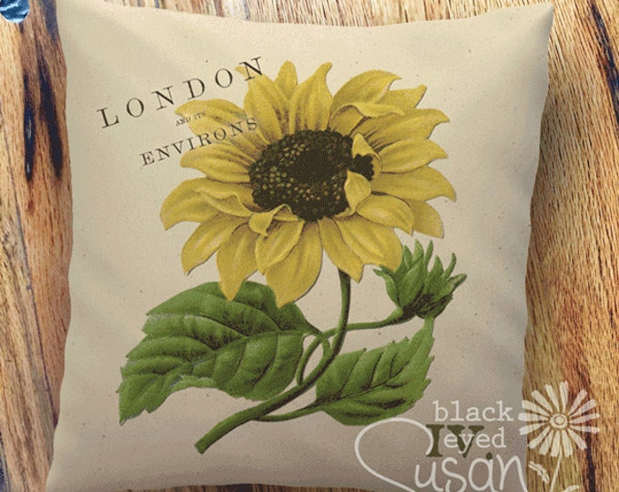 "Sunflower Botanical Pillow Cover I | 100% Cotton Canvas or Burlap | 14""x14"" 18""x18"" 22""x22"" 