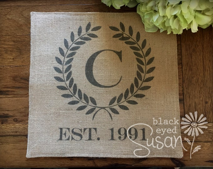 "Square Monogram Laurel Wreath  with Date Placemat of Natural 100% Cotton Canvas or Burlap | Cotton Backing | 14"" x 14"" - 16 Color Choices"
