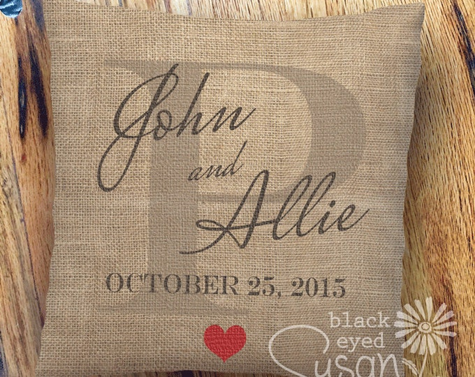 "Custom Wedding or Anniversary Gift Pillow Cover of Natural Canvas or Lined Burlap | 14""x14"" 18""x18"" 22""x22"" 