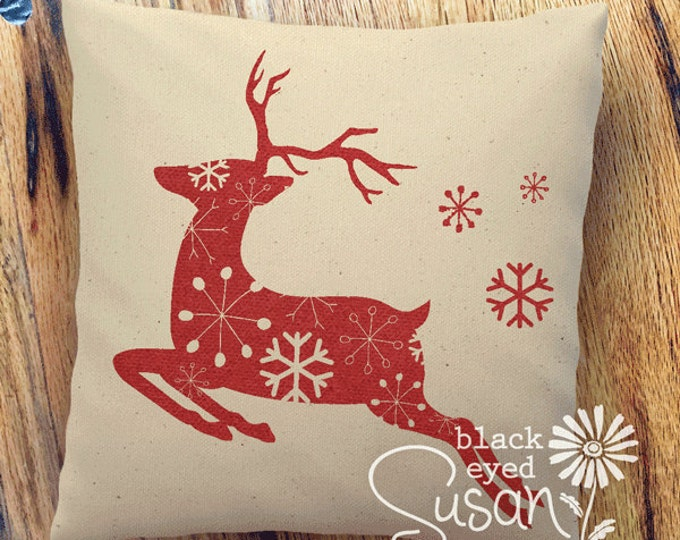 "Flying Reindeer Christmas Pillow Cover with Snowflakes | 14""x14"" 18""x18"" 22""x22"" 