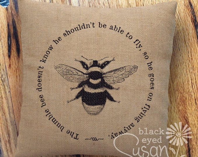 "Bumble Bee Pillow Cover | Natural 100% Cotton Canvas or Burlap | 14""x14"" 18""x18"" 22""x22"" 